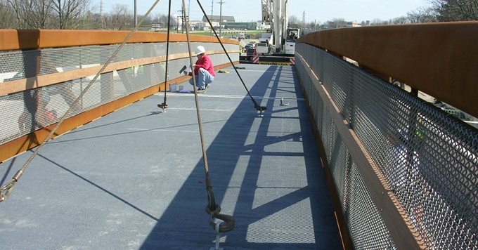 Installing Pedestrian Bridge Deck in Greene County, OH